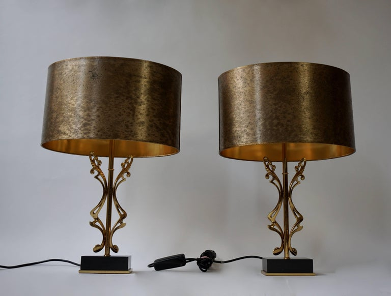 20th Century Two Brass Table Lamps For Sale