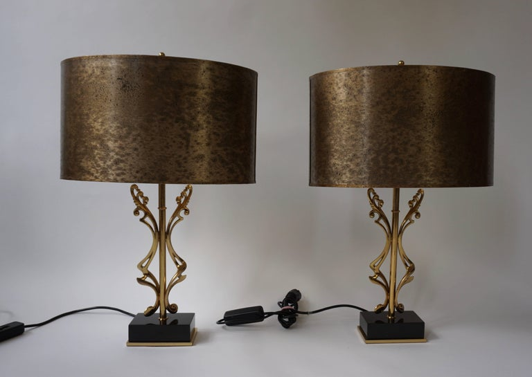 Mid-Century Modern Two Brass Table Lamps For Sale
