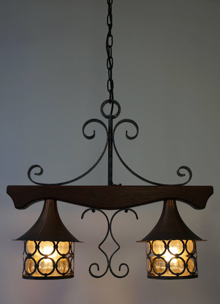 Copper and Wooden Pendant Light In Good Condition For Sale In Antwerp, BE
