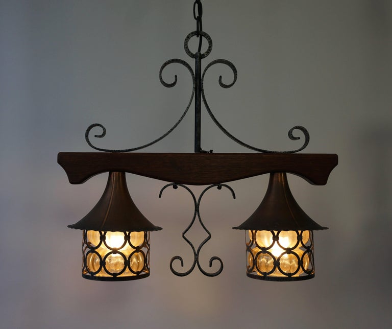 Mid-Century Modern Copper and Wooden Pendant Light For Sale