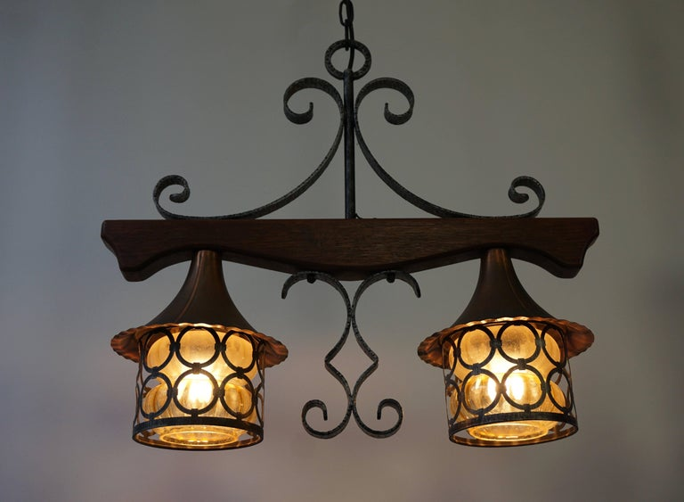 Belgian Copper and Wooden Pendant Light For Sale