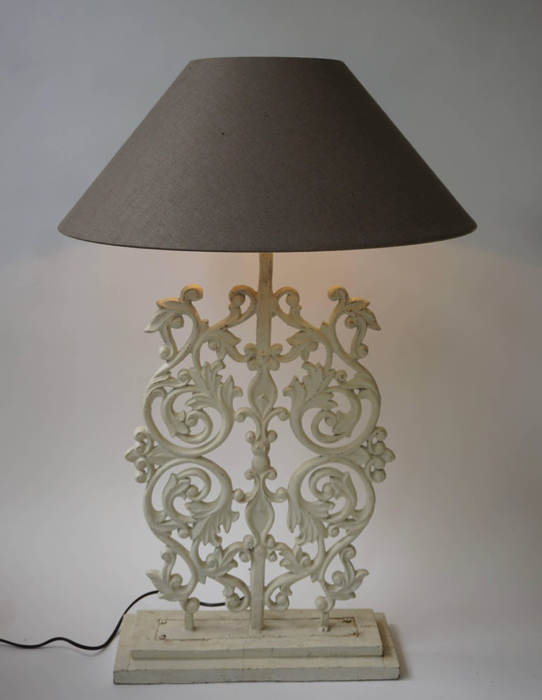 Belgian Two Cast Iron Painted Table Lamps For Sale