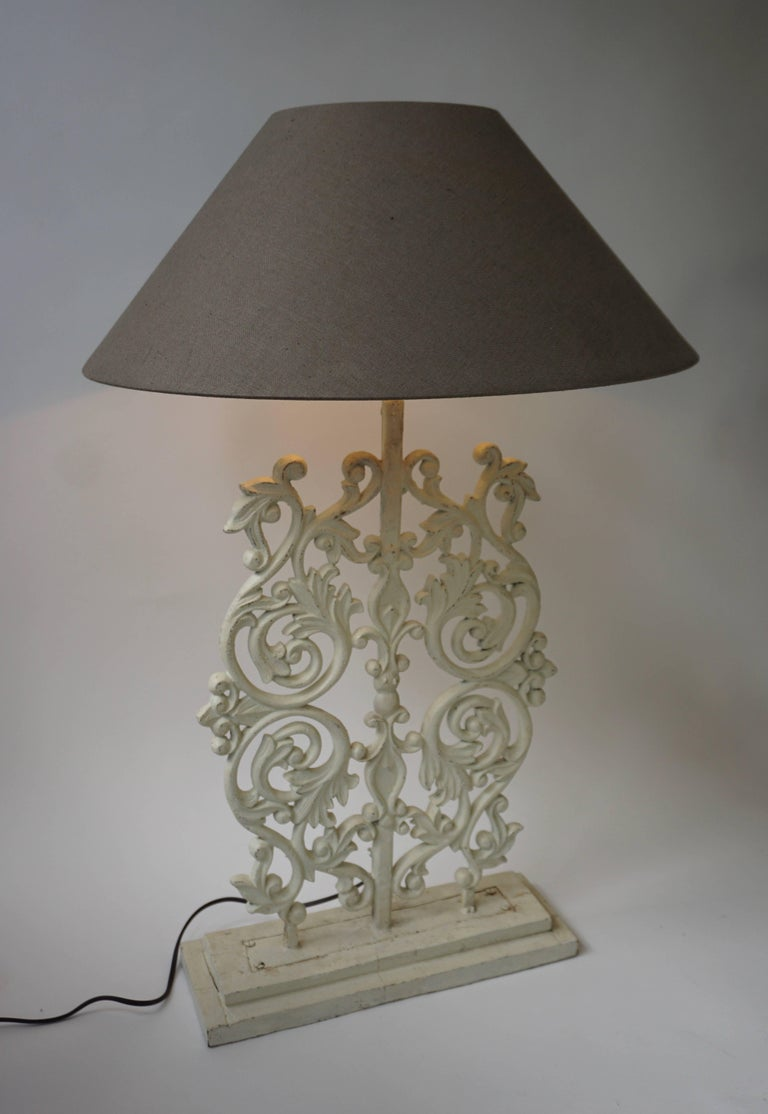 20th Century Two Cast Iron Painted Table Lamps For Sale