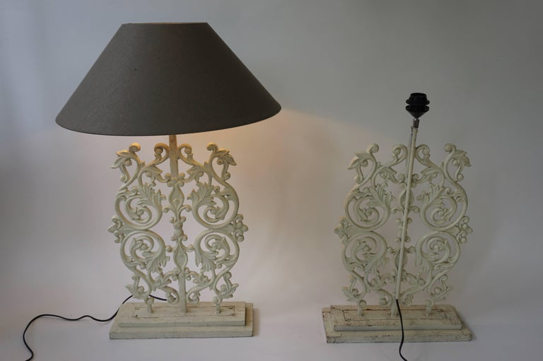 Two Cast Iron Painted Table Lamps For Sale 3