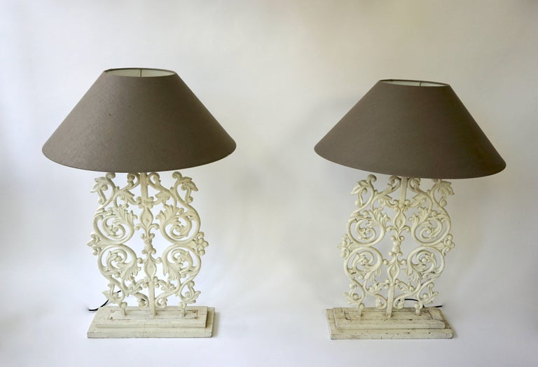 Mid-Century Modern Two Cast Iron Painted Table Lamps For Sale