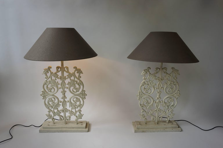 Two Cast Iron Painted Table Lamps For Sale 2