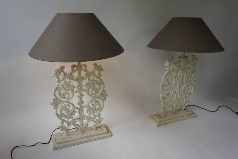 Two Cast Iron Painted Table Lamps For Sale 1