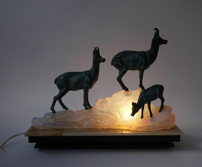 Italian Art Deco Table Lamp Sculpture For Sale