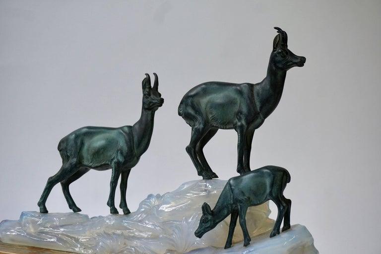 Onyx Art Deco Table Lamp Sculpture For Sale