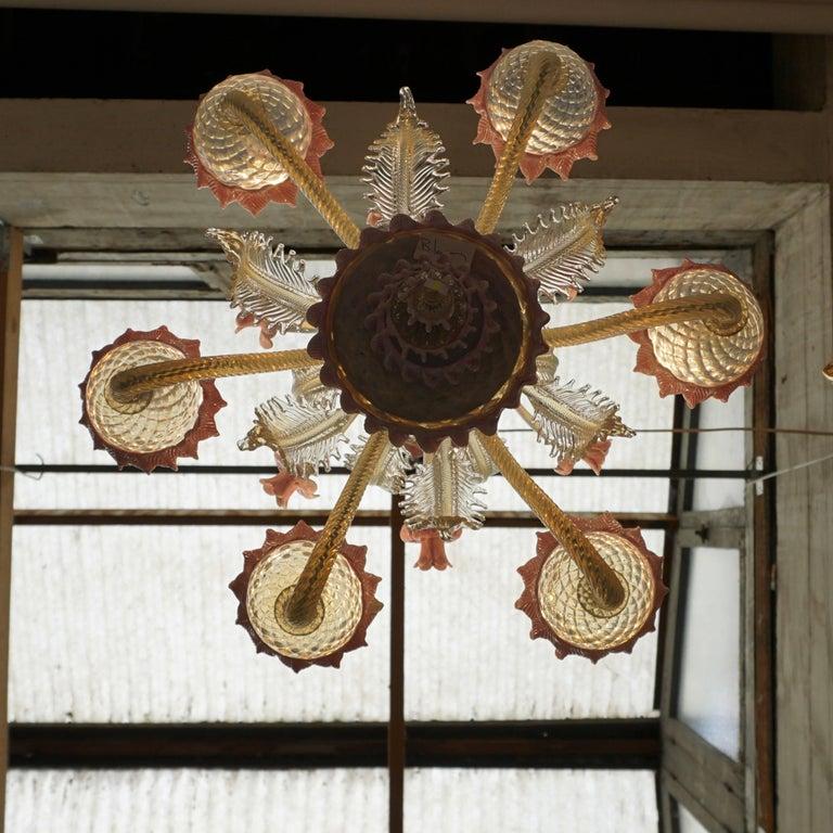 Venetian Six-Light Glass Chandelier In Good Condition For Sale In Antwerp, BE