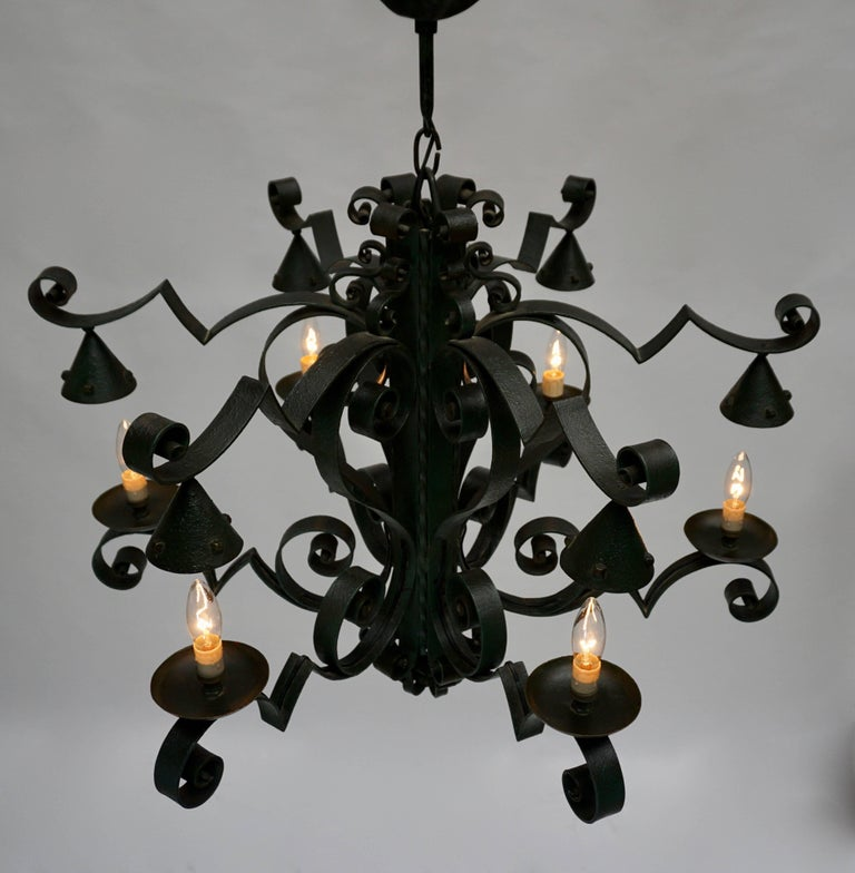 Mid-Century Modern Large French Wrought Iron Chandelier For Sale
