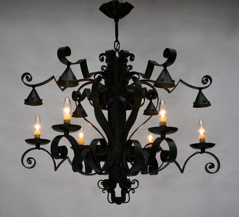Large French Wrought Iron Chandelier In Good Condition For Sale In Antwerp, BE