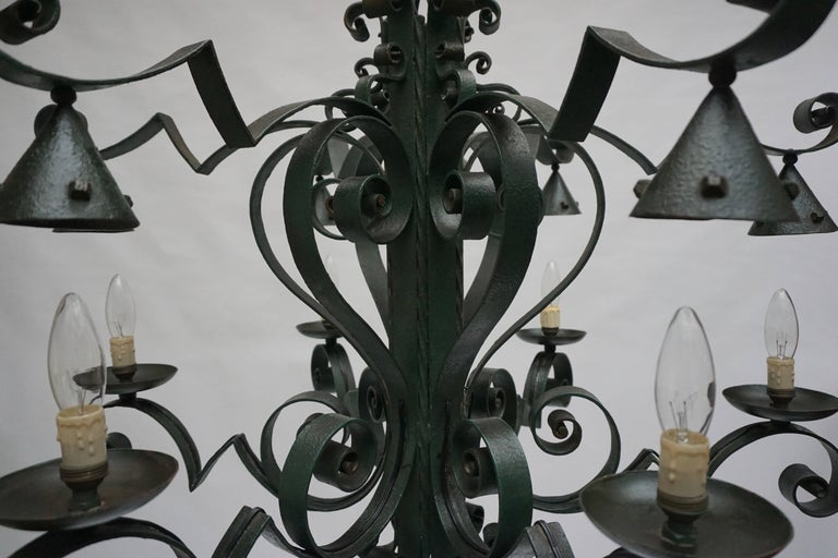 Large French Wrought Iron Chandelier For Sale 3