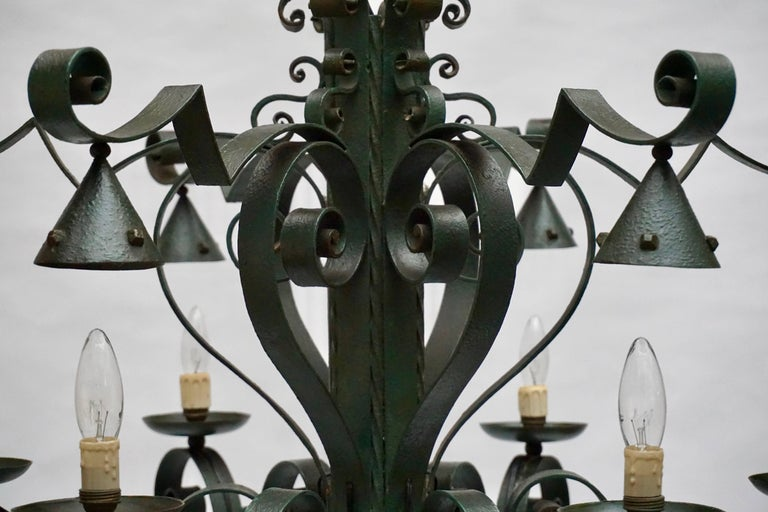 Large French Wrought Iron Chandelier For Sale 2