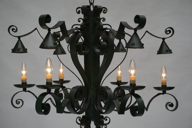 20th Century Large French Wrought Iron Chandelier For Sale