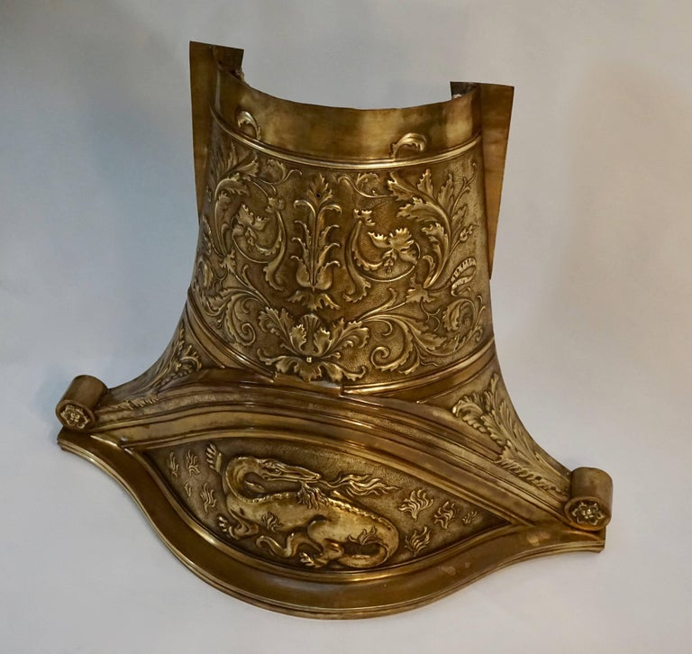 French Hammered Brass Fire Screen Decorated in the Renaissance Revival Style For Sale