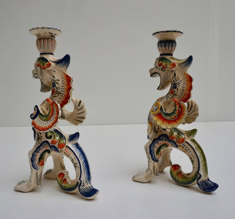 Mid-Century Modern Pair of Porcelain Candlesticks, France For Sale