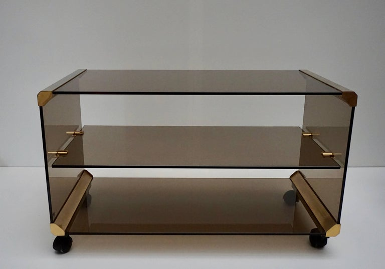 Brass and Smoked Glass Side Tables by Pierangelo Galotti For Sale 3