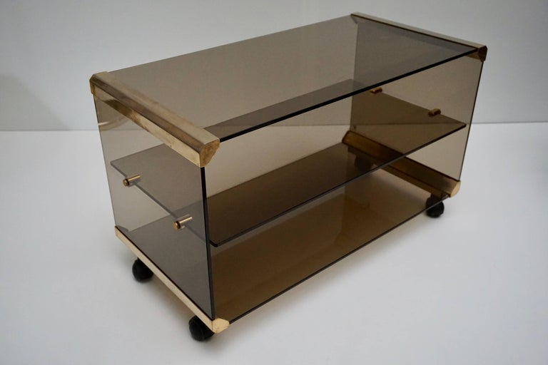 Mid-Century Modern Brass and Smoked Glass Side Tables by Pierangelo Galotti For Sale