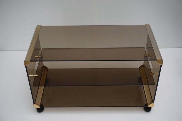 20th Century Brass and Smoked Glass Side Tables by Pierangelo Galotti For Sale