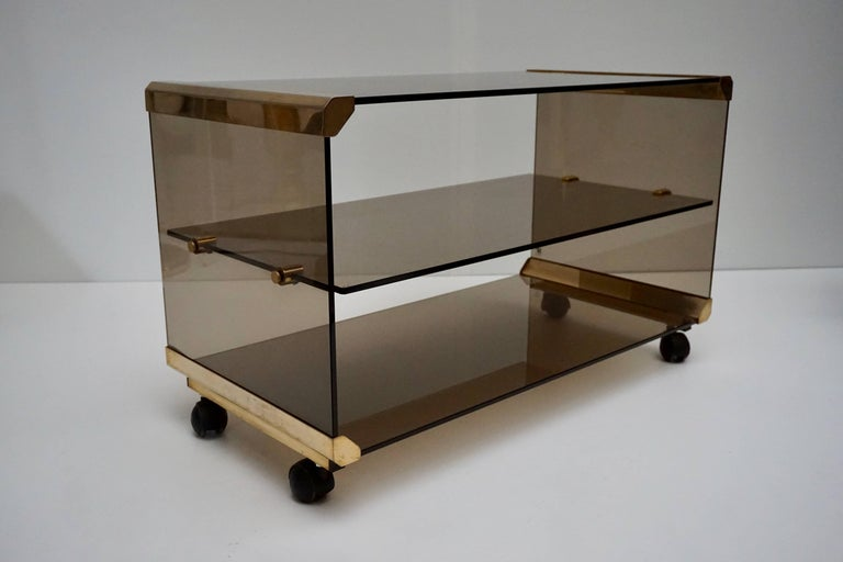 Brass and Smoked Glass Side Tables by Pierangelo Galotti In Good Condition For Sale In Antwerp, BE