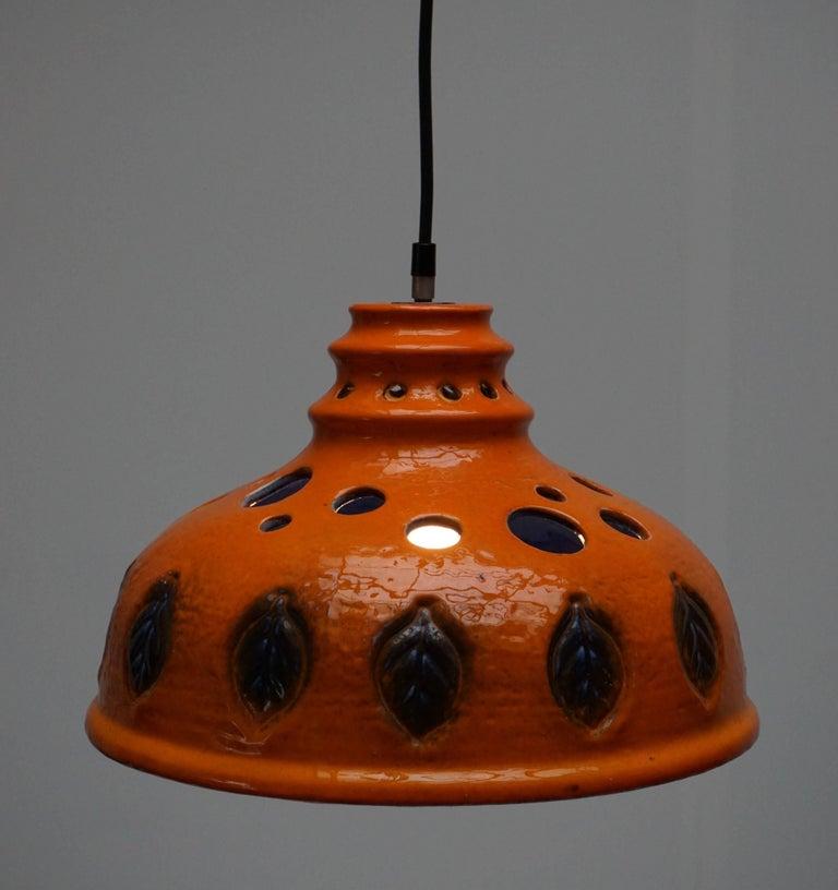 Italian Two Ceramic Pendant Lights For Sale