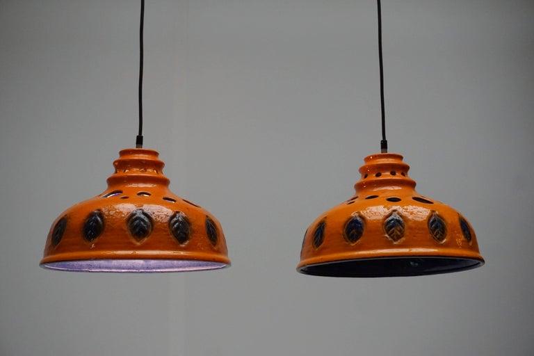 Mid-Century Modern Two Ceramic Pendant Lights For Sale