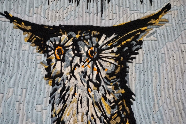Bernard Buffet the owl wool tapestry. Tapestry executed by Colette Morin, 1969. DMC collection. Dimensions: 53 cm x 63 cm (without frame).