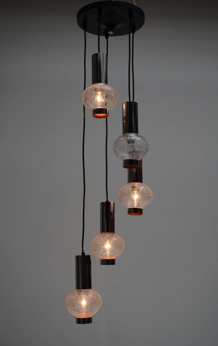 Metal Murano Glass Pendant Light For Sale