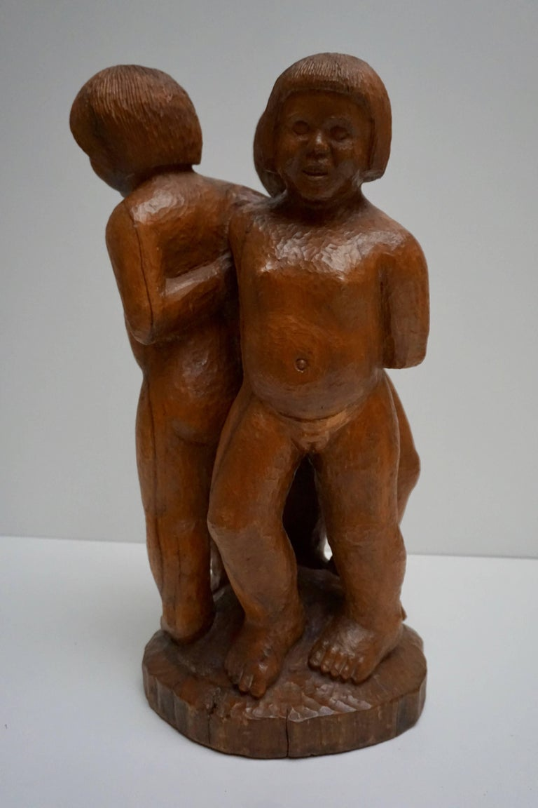 Sculpture in Wood of Three Young Nudes For Sale 1