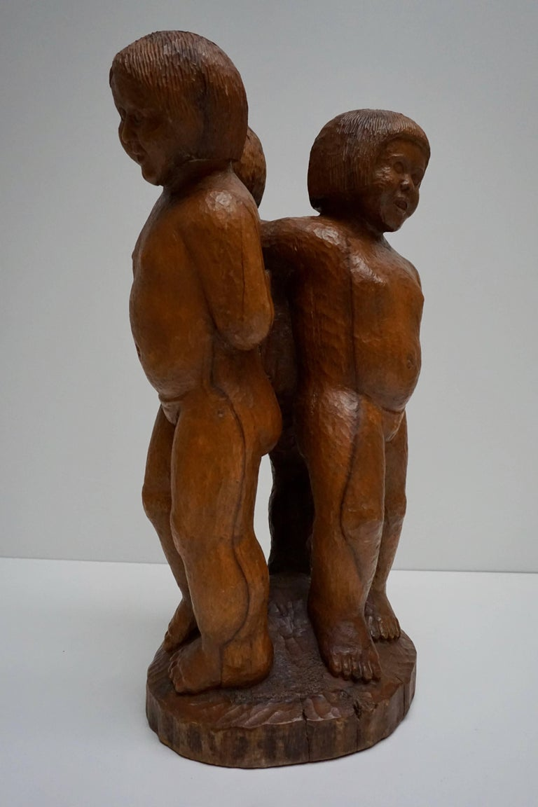 Romantic Sculpture in Wood of Three Young Nudes For Sale