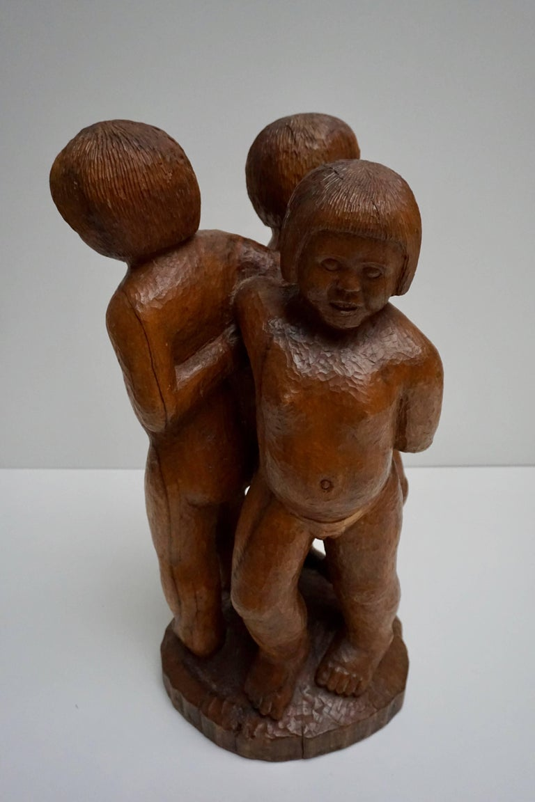 Sculpture in Wood of Three Young Nudes For Sale 3