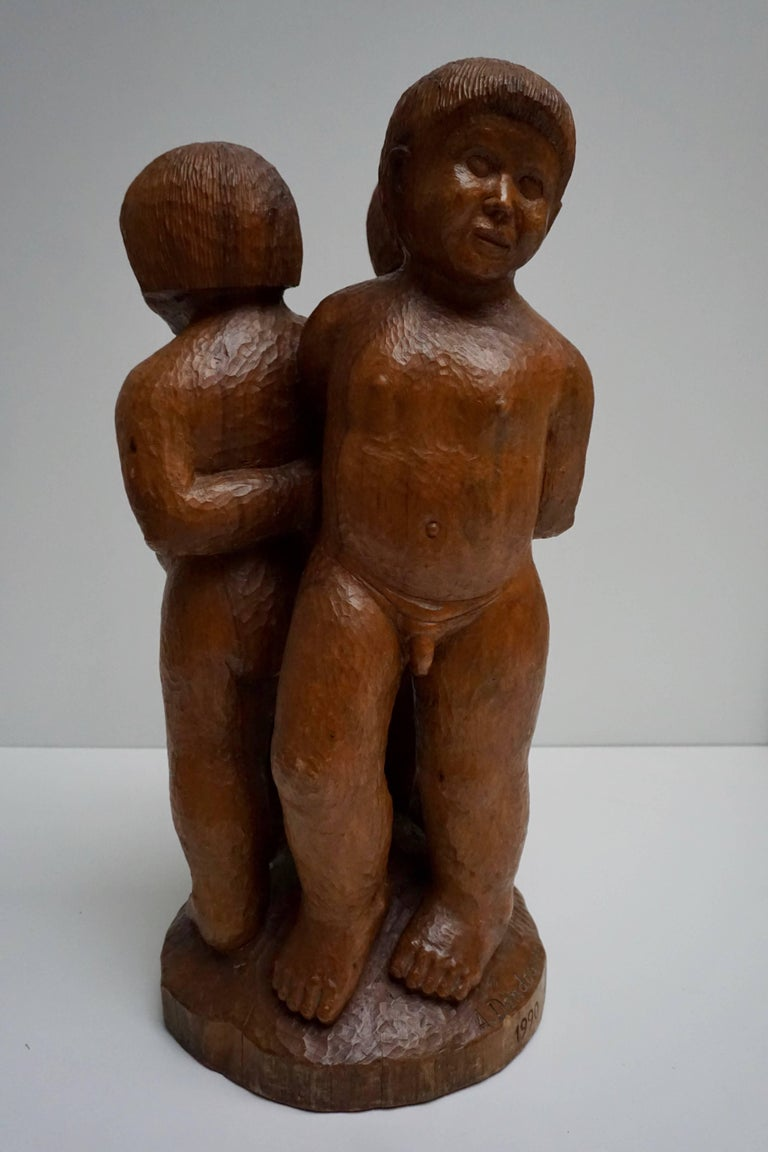 Sculpture in Wood of Three Young Nudes For Sale 4