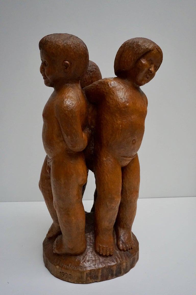 Belgian Sculpture in Wood of Three Young Nudes For Sale
