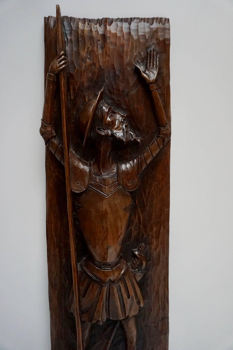 Italian Don Quichotte Wooden Wall Sculpture For Sale
