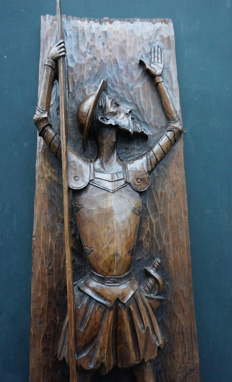 20th Century Don Quichotte Wooden Wall Sculpture For Sale