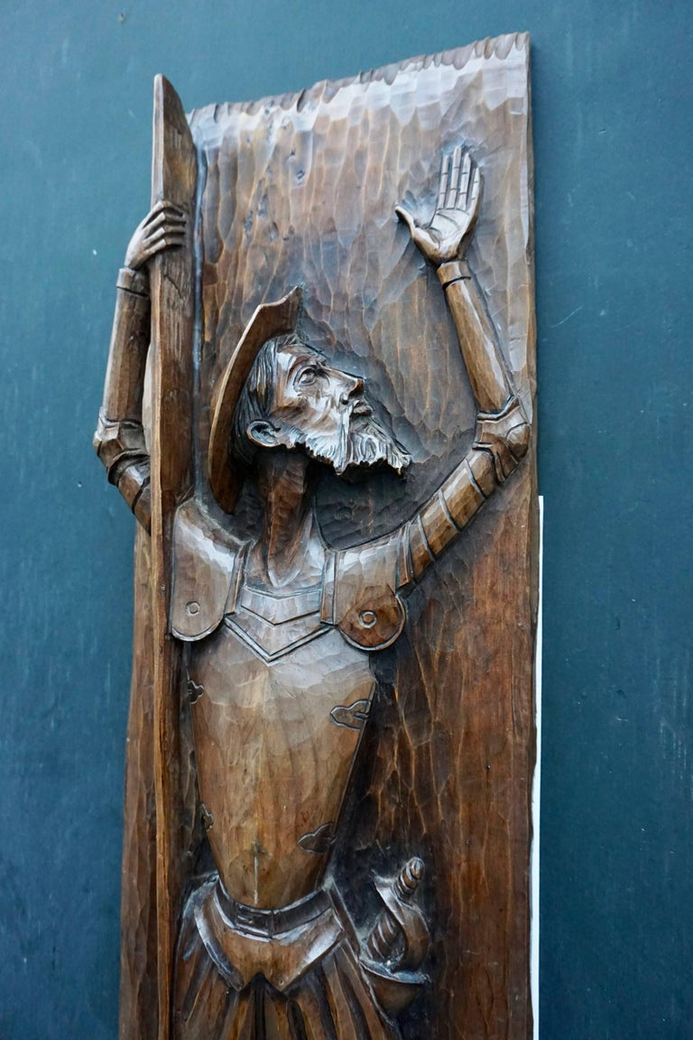 Don Quichotte Wooden Wall Sculpture In Good Condition For Sale In Antwerp, BE