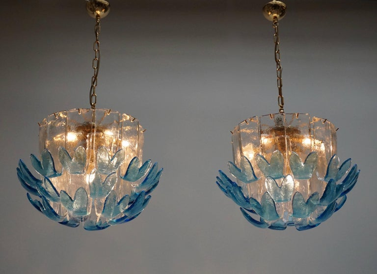Italian Rare Murano Glass Chandeliers by Alfredo Barbini For Sale