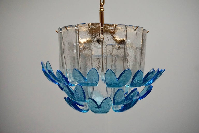 Metal Rare Murano Glass Chandeliers by Alfredo Barbini For Sale