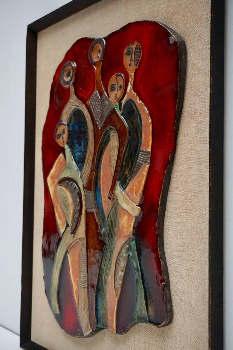 Mid-Century Modern Figural Ceramic Wall Hanging Sculpture For Sale