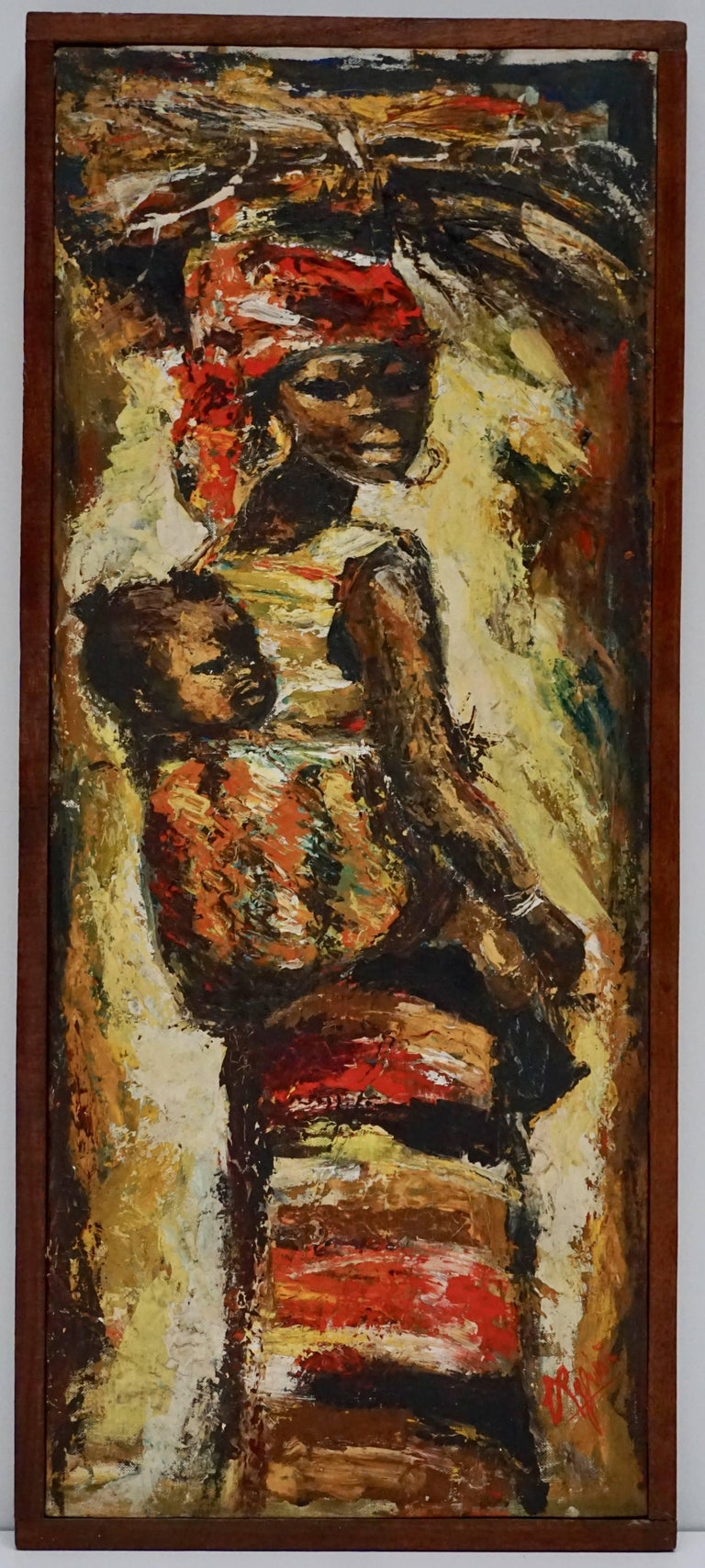 Congolese African Painting Woman and Child Kongo For Sale