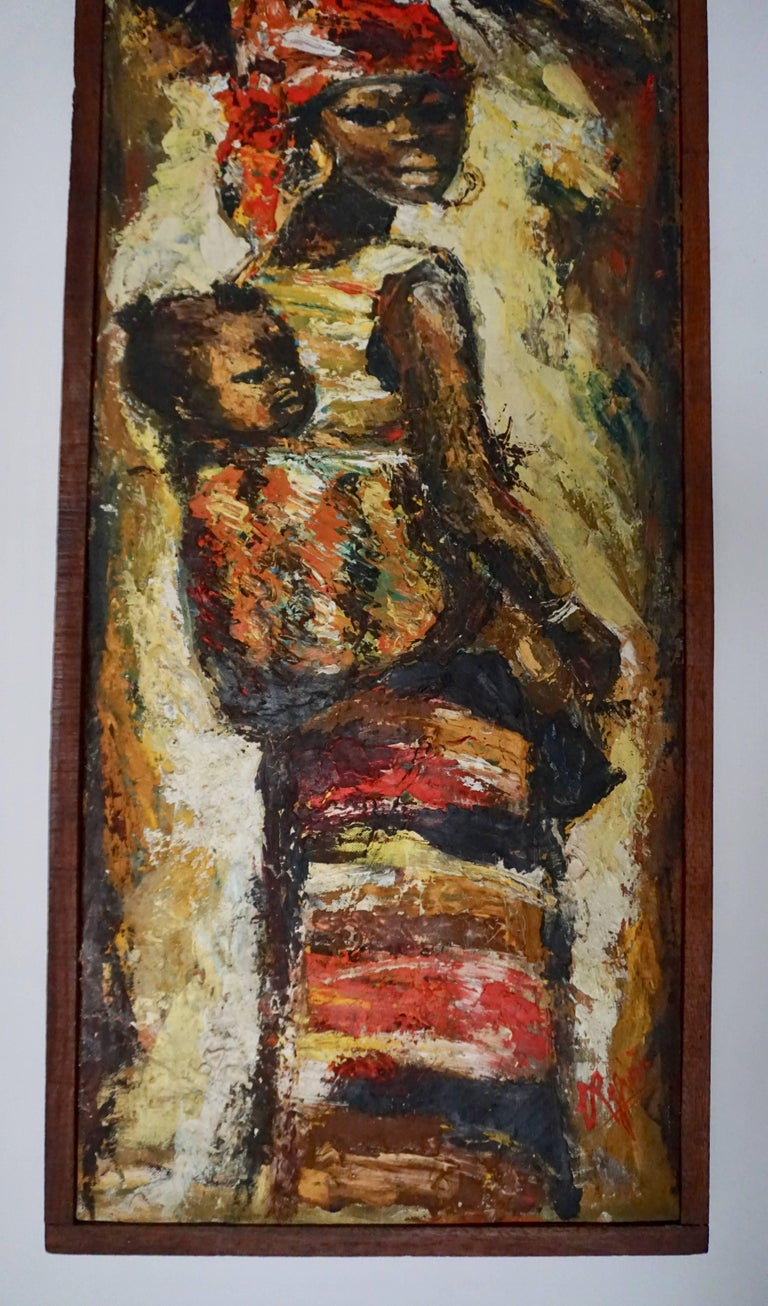 Mid-Century Modern African Painting Woman and Child Kongo For Sale