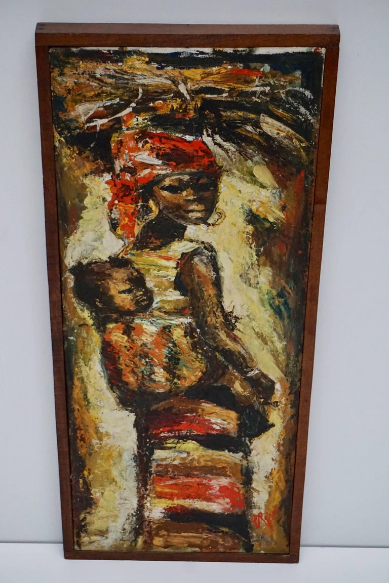 Painted African Painting Woman and Child Kongo For Sale