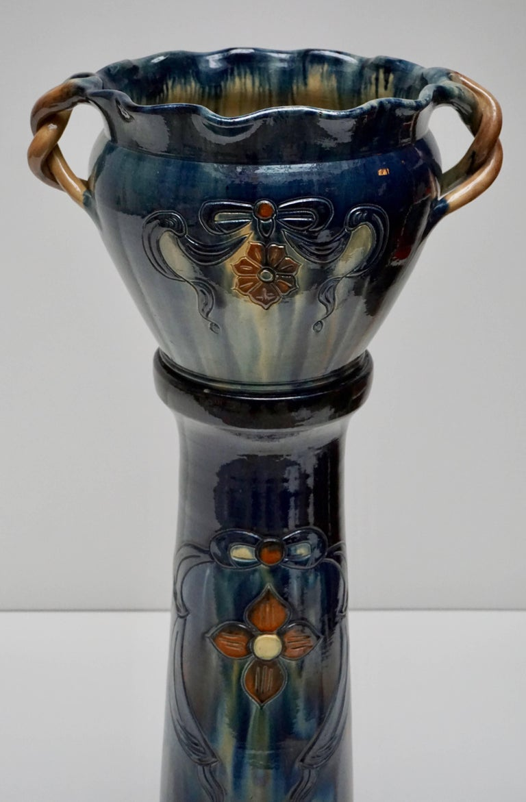 Painted Big Richly Glazed Hand Thrown Ceramic Handled Planter on a Column For Sale