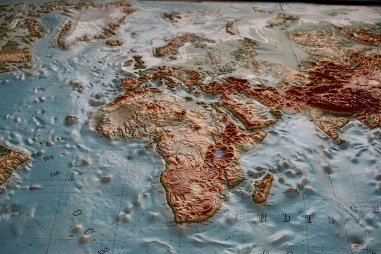 Mid-Century Modern World Relief Map For Sale