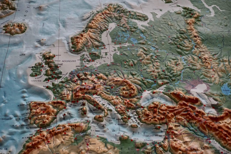German World Relief Map For Sale