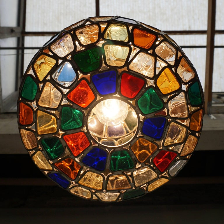 Brass Stained Glass Pendant Light For Sale