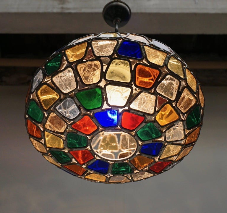 20th Century Stained Glass Pendant Light For Sale