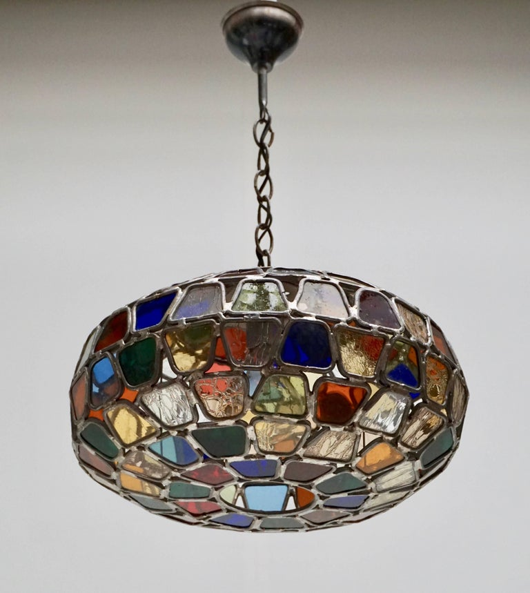 Stained Glass Pendant Light In Good Condition For Sale In Antwerp, BE