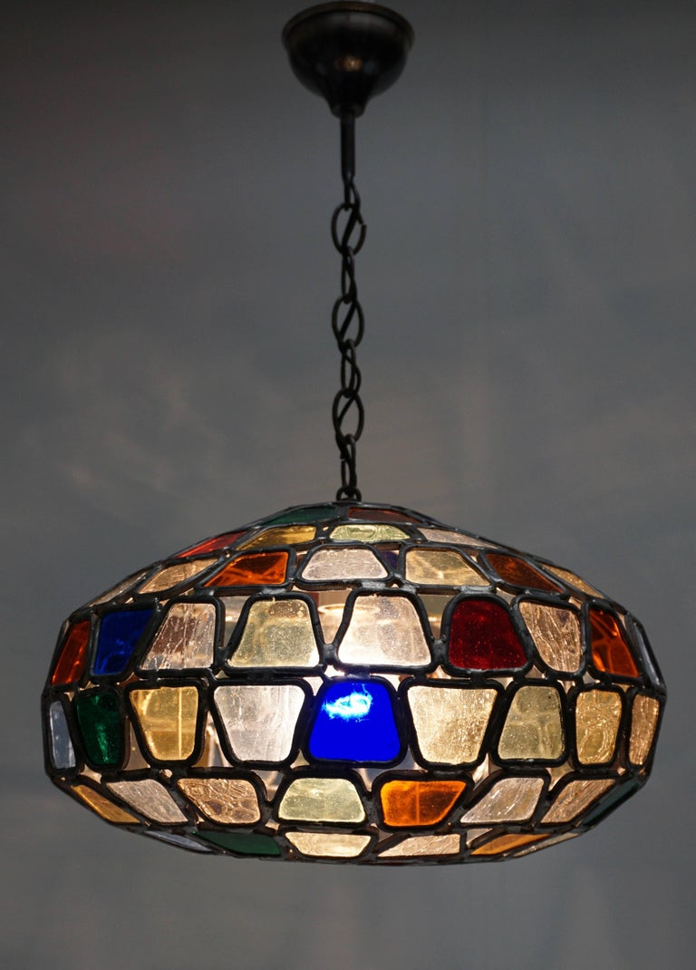 Mid-Century Modern Stained Glass Pendant Light For Sale